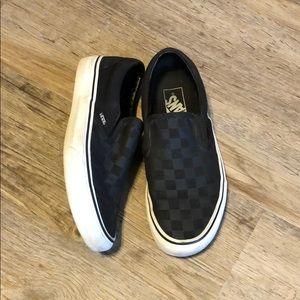 Black Checkered Slip On Vans
